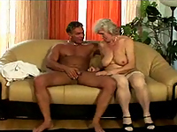 Old granny sucks young cock!