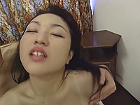 He tickles her tiny tits and fingers her tight pussy.
